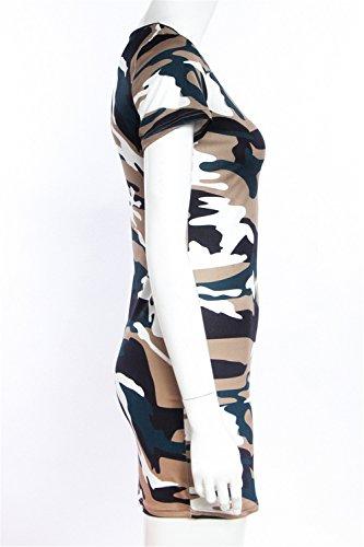 a Maniche Corte Militare Camo Camouflage Pattern Stretch Stretchy Mini Bodycon Aderente Fasciante T-Shirt Maglietta Dress Vestito Abito Esercito verde