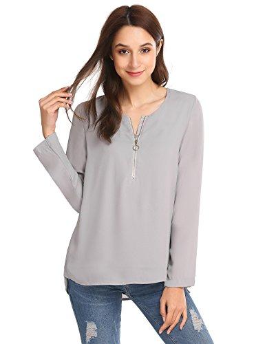 Finejo Damen Elegant Blusen Tunika Blusenshirt Langarmshirt Rundhals Oberteile  T-Shirt mit Reißverschluss Vorne Grau e86176e7d1