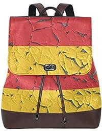 Preisvergleich für FAJRO Shabby Deutsche Flagge Travel Rucksack Leder Handtasche Schulrucksack