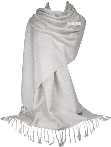Gfm, sciarpa avvolgente in stile pashmina floreale con foglie s0 - offwhite (p093-osfd) 90
