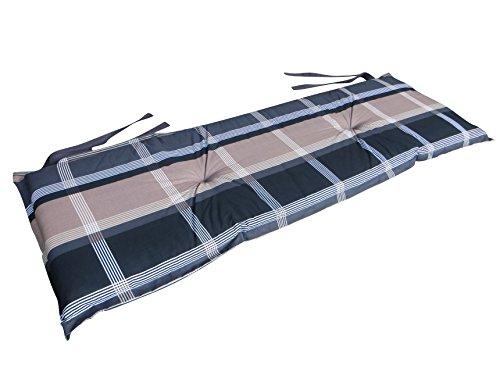 8 cm Luxus 2-Sitzer Bankauflage B 252 ca. 120x48x8 cm, grau - taupe - schwarz
