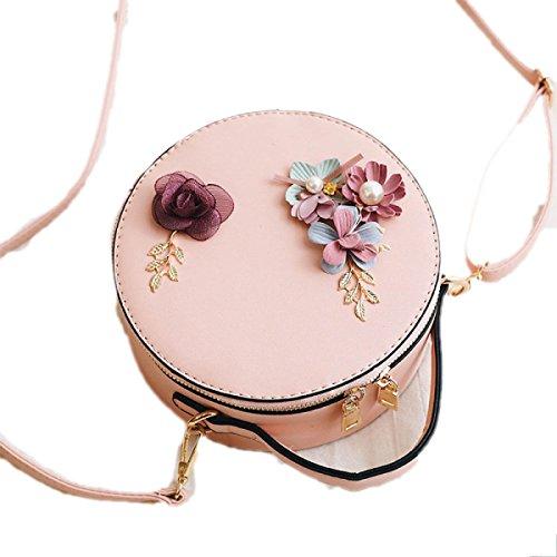 Frauen Mini Floral Handtasche Kleine Runde Tasche Chain Pack 2017 Einfache Einfache Schultertasche Messenger Bag Handtasche Pink