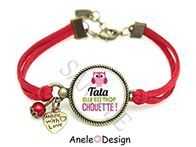 Bracelet cadeau tante Tata - rose rouge