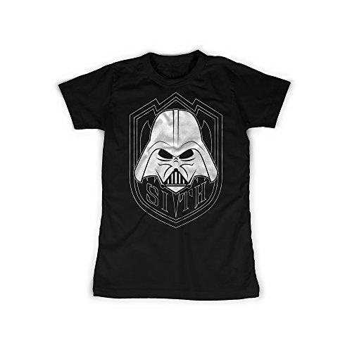 t mit Aufdruck in Schwarz Gr. M Sith Lord Wappen Design Girl Top Mädchen Shirt Damen Basic 100% Baumwolle Kurzarm (Sith-lord-outfit)