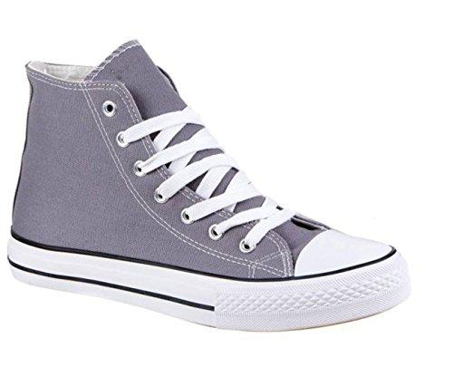 Neu Damen Sneakers Freizeit Turnschuhe High Top Schuhe (44, Grau)
