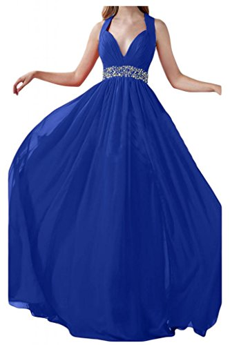Prom dresses Toscana sposa adorabile Rueckenfrei cristallo dei vestiti da sera Chiffon lungo del partito damigella d'onore Blu Royal