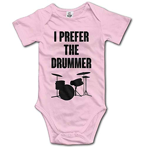 TKMSH Unisex Baby's Climbing Clothes Set I Prefer The Drummer Bodysuits Romper Short Sleeved Light Onesies for 0-24 Months