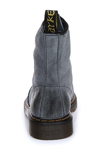 uBeauty - Bottines Femme - Chaussure Sport Femme - Bottes Cuir Vache - Chaussures Classiques - Bottines À Lacets Bleu-Gris