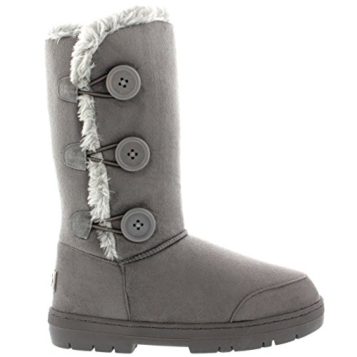 Womens Button Triplet Completamente allineato pelliccia invernale impermeabile Snow Boots - Grigio - 7