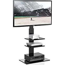 FITUEYES Meuble TV Pied avec Support Pivotant pour Téléviseur de 32 à 65 Pouce Ecran LED LCD Plasma avec 3 Etagères Pivotant à 60°