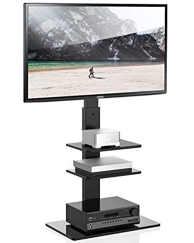 FITUEYES Meuble TV Pied avec Support Pivotant pour Téléviseur de 32 à 65 Pouce Ecran LED LCD Plasma avec 3 Etagères TT307001MBUK