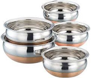 Regalo Stainless Steel and Copper Serving Handi Cookware Combo,5 Pcs. Set
