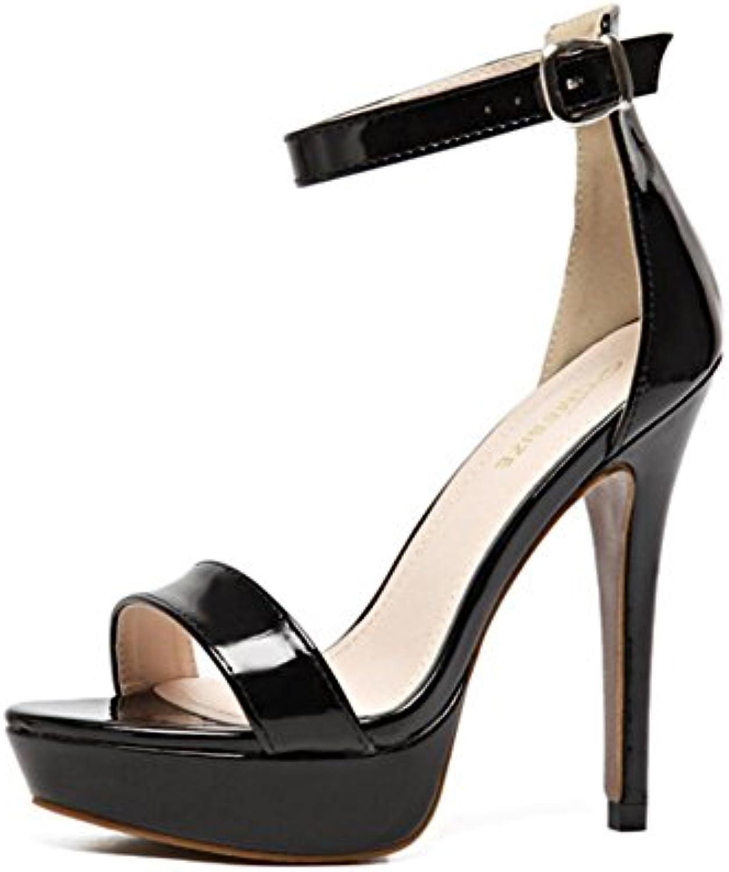 Donna Sexy sandali Stiletto alto Tacco Scarpe Caviglia Cinghia Fibbia Fibbia Fibbia piattaforma Sbirciare Dito del piede Nero... | The Queen Of Quality  | Gentiluomo/Signora Scarpa  8c0d1e