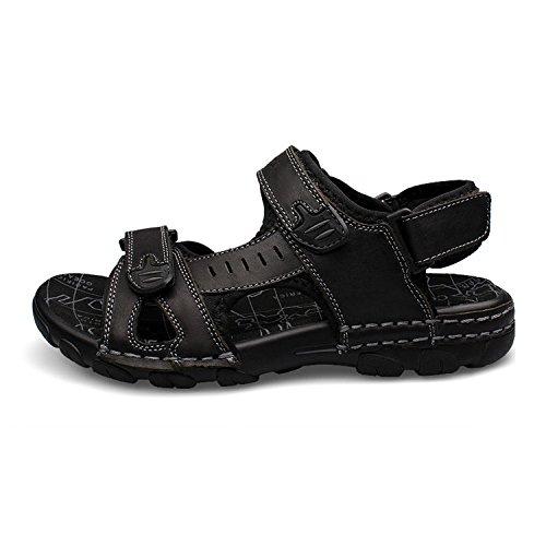 Couro Homens H-domínio Sandálias Confortáveis jovem Desportivas E De Verão Ao Ar Livre Sapatos Pretos