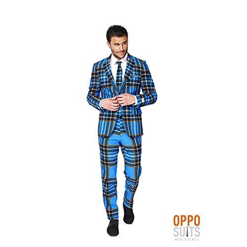 Braveheart Schottland Anzug Karo Muster Opposuit Slimline Premium 3-teilig Gr. (Muster Braveheart Kostüm)