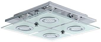 Plafonnier LED 12 Watts luminaire verre inox éclairage salle de séjour Eglo Cabo 13549