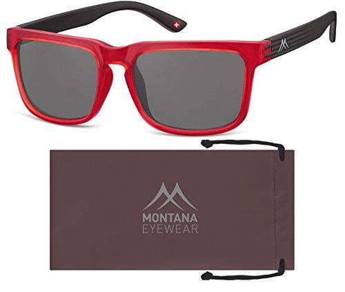 Montana S26, Gafas de Sol Unisex Adulto, Multicolor (Red + Smoke Lenses), Talla única