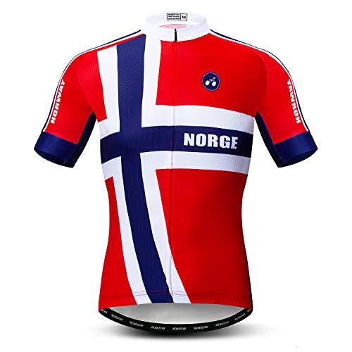 Weimostar Radfahren Jersey Herren Radfahren Kleidung Fahrrad Jersey Top Mountain Road MTB Jersey Shirt Kurzarm Atmungsaktive Team Sport Norwegen Rot Größe XXL