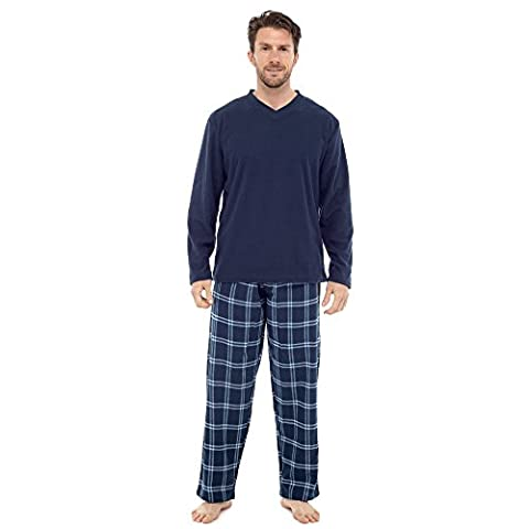 Mens Insignia Pyjama set Long Sleeve Top and Check Bottoms Loungewear (Small, HT735M Blue)