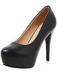 bcd1d1ae59a COOLCEPT Mujer Moda Tacon De Aguja Tacon Alto Bombas Zapatos Sin Cordones  with Plataforma Extra Sizes