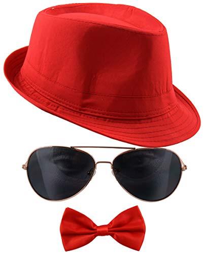 Bad Taste rotes 80er Jahre Inkognito Kostüm Set mit Fedora Hut, Fliege und Sonnenbrille
