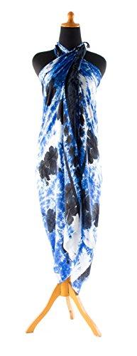Sarong ca. 170cm x 110cm Handgearbeitet inkl. Sarongschnalle im Fisch Design - Viele exotische Farben und Muster zur Auswahl - Pareo Dhoti Lunghi Blumen Blau Schwarz Batik