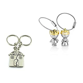 Mavis's Diary 4 PCS Unique Couple Key Ring Chain Keyring Lover Sweetheart Gift (2 pair) Love House / King /Queen