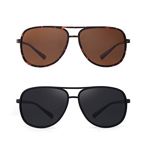 JM Retro Polarisiert Flieger Sonnenbrille Spiegel Leicht Gewichts Brille für Damen Herren 2 Stück(Braun&Grau)
