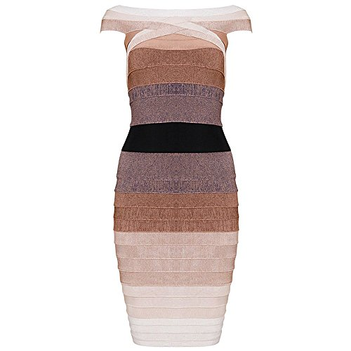 HLBandage Gradient Multicolor Off Shoulder Colorful Rayon Bandage Dress Marrone