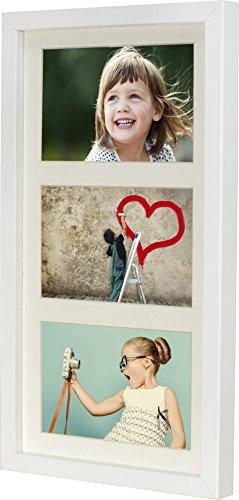 18 x 35 cm Mehrfach Bilderrahmen, Bildergalerie, Fotogalerie mit Passepartout und 3 Foto-Ausschnitten für Fotos 10 x 15 cm, Weiß