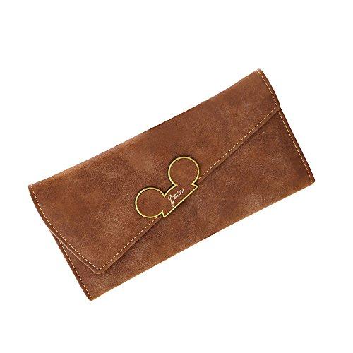 Deloito Damen Mode Kreativ Neu matt Lange Brieftasche diagonale Abdeckung dreifach Frauengeldbeutel (Kaffee) Diagonal Matt