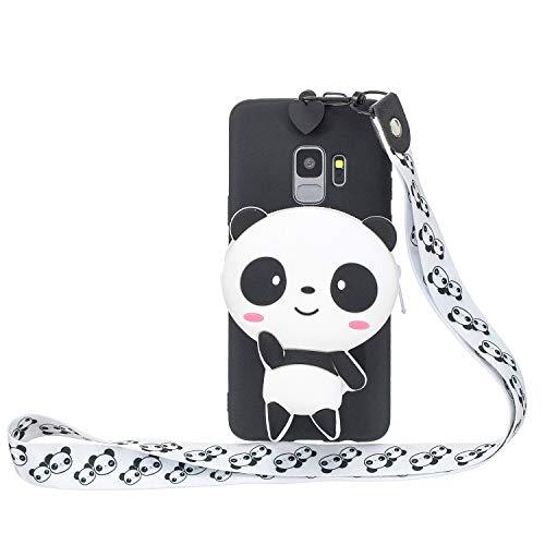 Miagon Silikon Hülle für Samsung Galaxy S9 Plus,3D Süß Brieftasche Lager Tasche Design mit Halskette Kordel Schnur Handykette Necklace Band,Panda