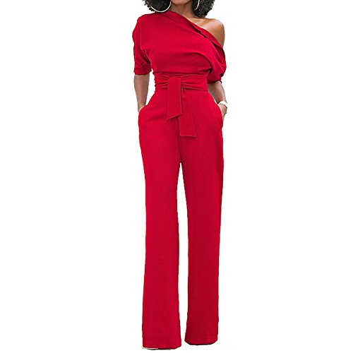 Sg Women Sexy One Off Shoulder Wide Leg Jumpsuit Long Romper Pants with Belt