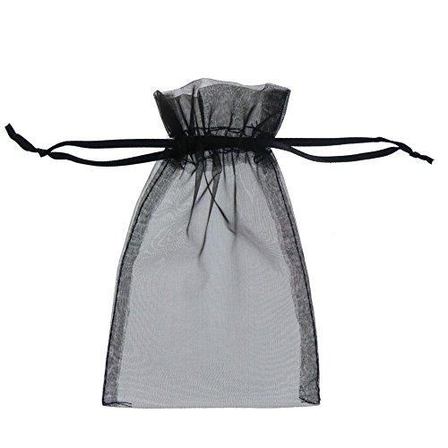 Fushing 100Pcs 7 x 9cm Sheer Kordelzug Organza Schmuck Beutel Hochzeit Party Weihnachten Favor Geschenk Taschen schwarz