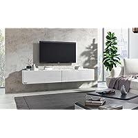 Wuun® TV Board Hängend/8 Größen/5 Farben/240cm Matt Weiß