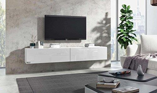 Wuun® TV Board hängend/8 Größen/5 Farben/140cm Matt Weiß- Weiß-Hochglanz/Lowboard Hängeschrank Hängeboard Wohnwand/Hochglanz & Naturtöne/Somero