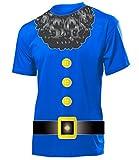 Zwerg 4515 Karneval Kostüm Herren T-Shirt Zwergenkostüm Märchen Männer Fasching Faschingskostüm Karnevalskostüm Paarkostüm Gruppenkostüm Blau S