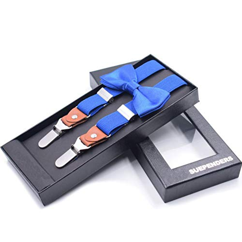 YMXBSBD Hosenträger Fliege Hosenträger Für Jungen Vintage Elegante Klammer Und Fliege Plain Black Set Hosenträger Royal Blue Red Hosenträger (Blue Hosenträger Royal)