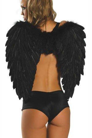 (Kleidung Zubehör_Cosplay Cupid Devil Angel Kostüm Zubehör Flügel schwarz One Size)