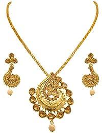 JFL - Traditional Ethnic One Gram Gold Plated Diamond Designer Pendant Set With Earring For Women And Girls. - B075V4YZ75