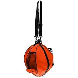 MagiDeal Bolsa de Baloncesto de Fútbol de Voleibol Impermeable Bolsa de Hombros con Bolsillos de Malla de Ambos Lados - Naranja