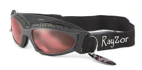 Rayzor Professionelle UV400 Grau meliert 2 In 1 Radfahren - MTB Anti-Fog-Sonnenbrille / Schutzbrille, mit einem klaren Rose Blend Clarity-Objektiv und ein abnehmbare, elastische Stirnband & Innenschaumstoffpolsterung.