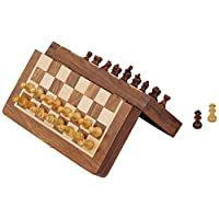 SouvNear 18cm x 18cm Wood Magnetic Chess Set with Staunton Chess Pieces - Folding Game Board with Storage