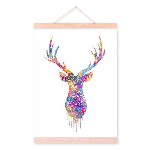 Aquarell Deer Head Kleiderbügel aus Holz gerahmt Kunstdruck auf Leinwand fertig zum aufhängen Home...