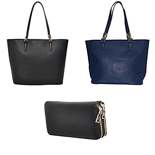 Mechaly , Damen Rucksackhandtasche, - Black Tote, Blue Tote & Double Zip Wallet - Größe: One Size (Double Zip Tote)