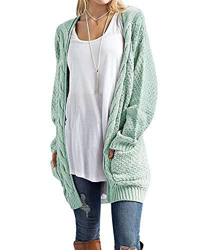 Cnfio Damen Strickjacke Lässig Casual Cardigan Langarm Pullover Outwear mit Taschen Mantel Jacke Winter
