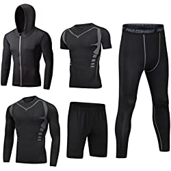 Dooxii Men 5 Quick Dry Parts Compression Set Clothing Hoodies and Shorts and Leggings and Short Sleeve and Long Sleeve Tops Tight for Running Fitness Training M