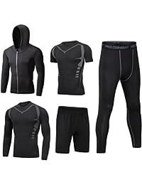 Dooxi Herren 5 Stücke Sport Anzug Schnell Trocken Joggen Kleidung  Strumpfhosen Laufanzüge Kompression Shirt Gym Training d8933e8c23