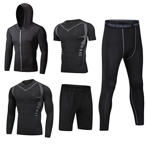 Dooxii uomo 5 pezzi completi sportivi abbigliamento giacca con cappuccio manica corta manica lunga camicie a compressione pantaloni a compressione pantaloncini vestiti set m