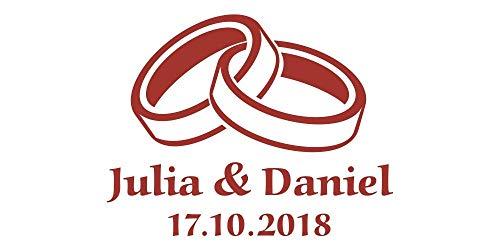 Autoaufkleber Hochzeit Eheringe mit Namen & Datum